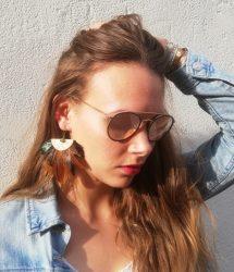 Boucles d'oreilles jade, plumes et cuir