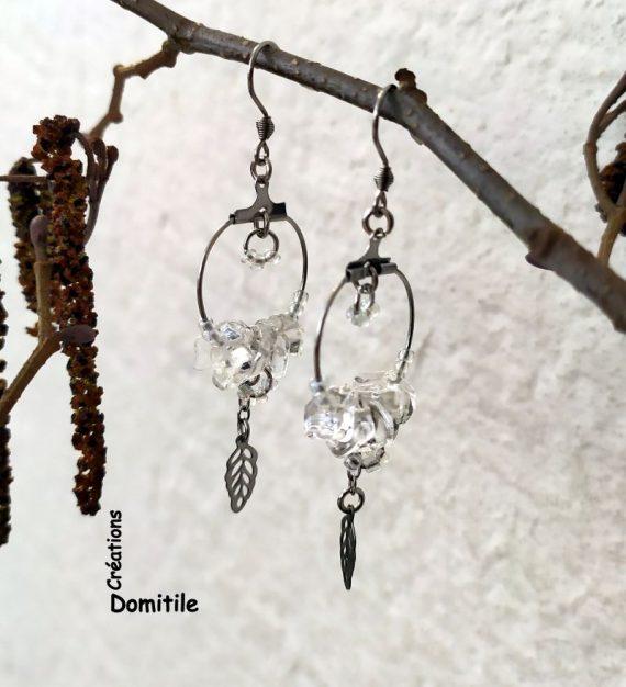 Boucles oreilles artisanales cristal