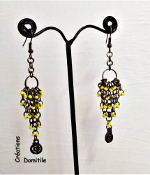 boucle oreille jaune et bronze artisanal