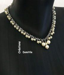 collier sabby chic argenté et perle blanche